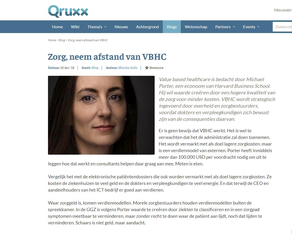Qruxx – 'Zorg, neem afstand van VBHC'